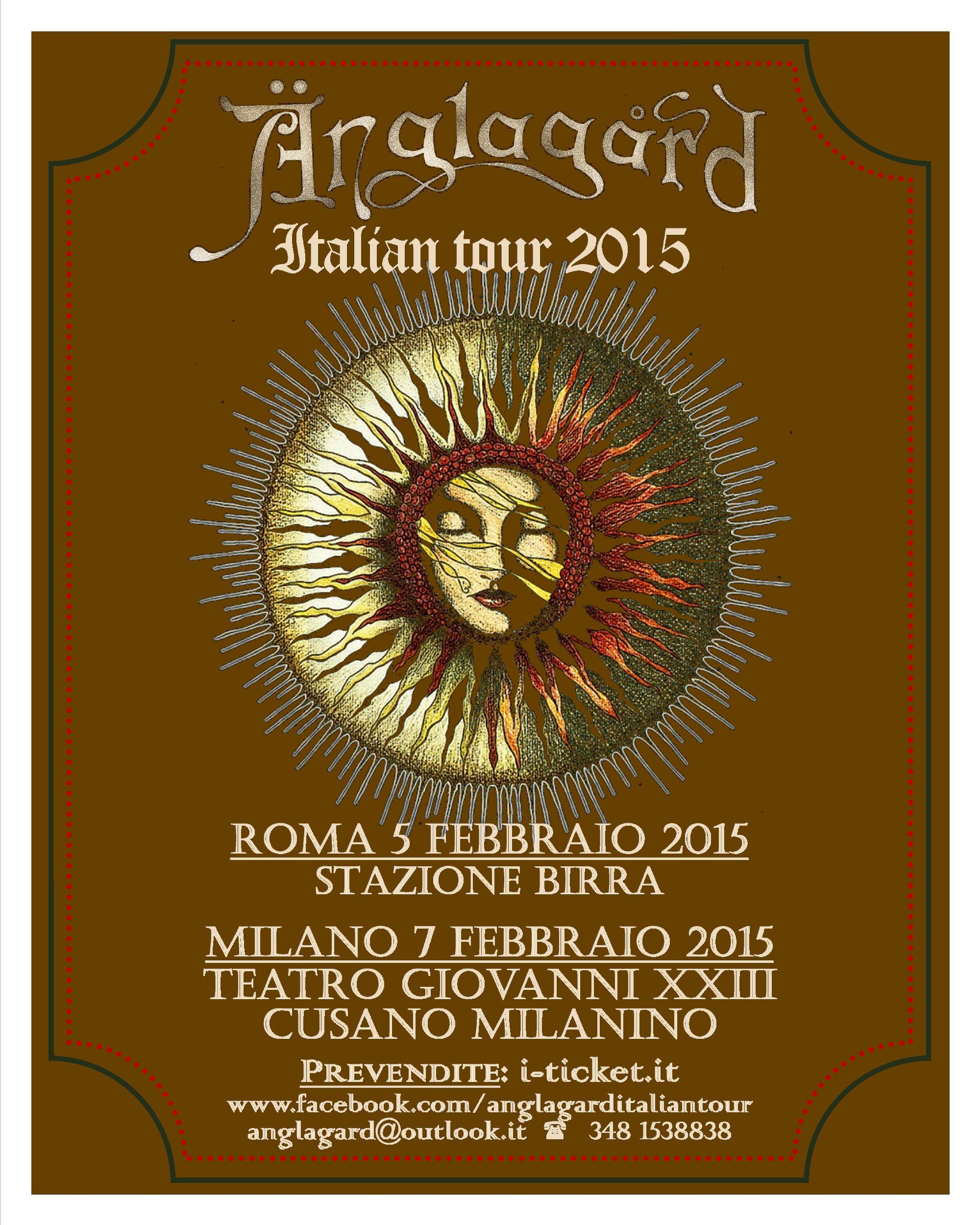 Anglagard in Tour - 5 e 7 febbraio a Roma e Milano