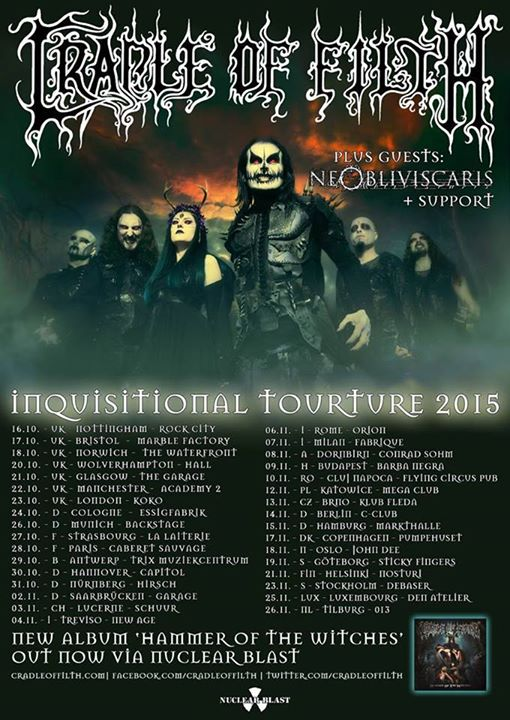 "Cradle Of Filth - ""Inquisitional Tourture"" Tour 2015"