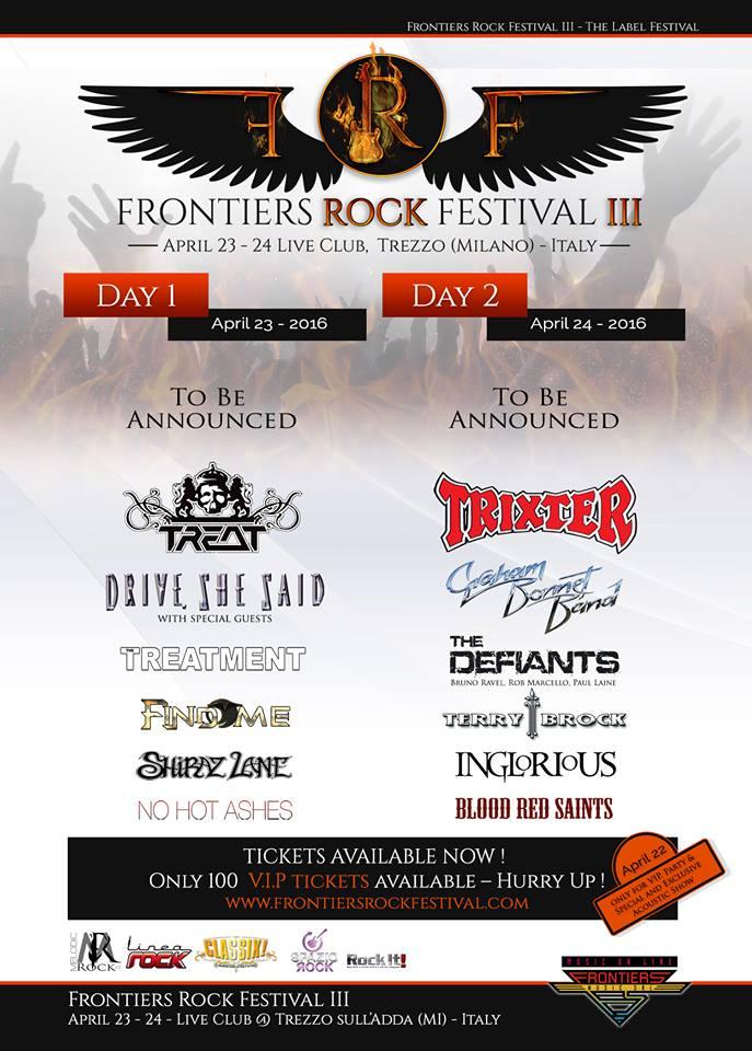 Frontiers Rock Festival 2016 - altre conferme