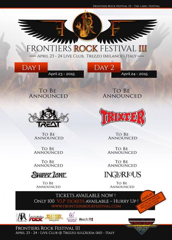 Frontiers Rock Festival 2016 - Prime 4 Band Confermate