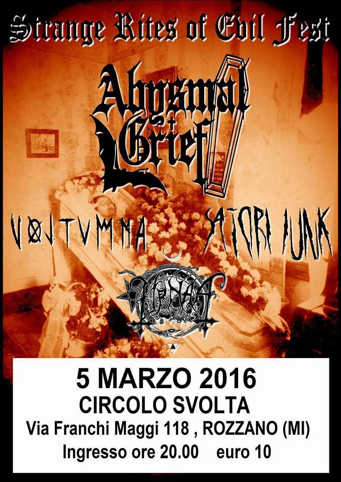 Abysmal Grief a Milano + Voltumna + Satori Junk + Urnaa @ Circolo Svolta - 05 03 2016