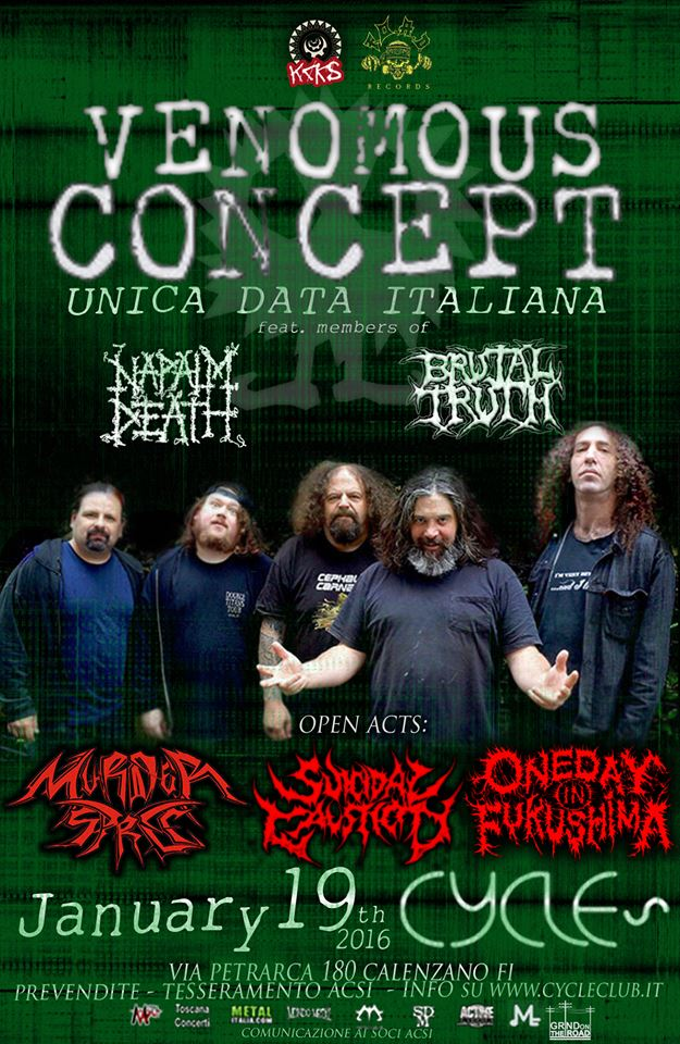 Venomous Concept in Italia + Murder Spree + Suicidal Causticity + One Day In Fukushima - Tour 2016 Promo