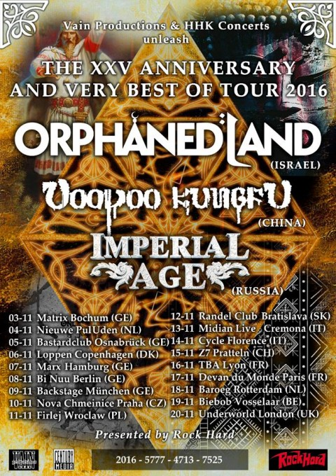 Orphaned Land a Firenze + Voodoo Kungfu + Imperial Age per il XXV Anniversary And Very Best Of Tour 2016 Promo
