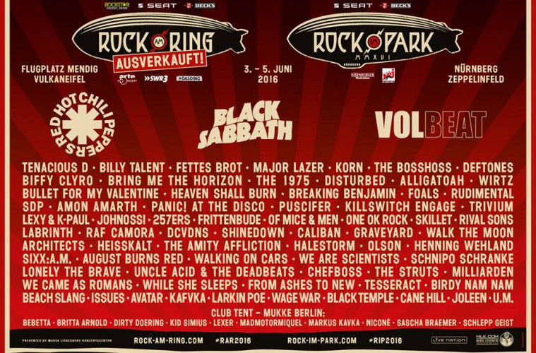 Red Hot Chili Peppers - Black Sabbath - Volbeat - Rock Am Ring 2016