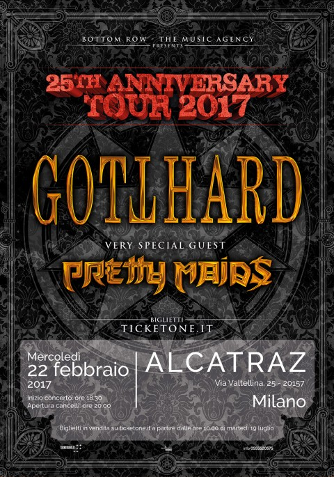 Gotthard - Pretty Maids - Alcatraz - 25th Anniversary Tour 2017 - Promo