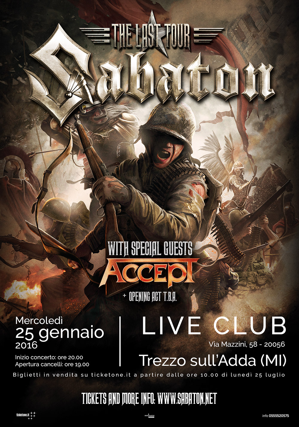 Sabaton - Accept - Live Club - The Last Tour 2016 - Promo
