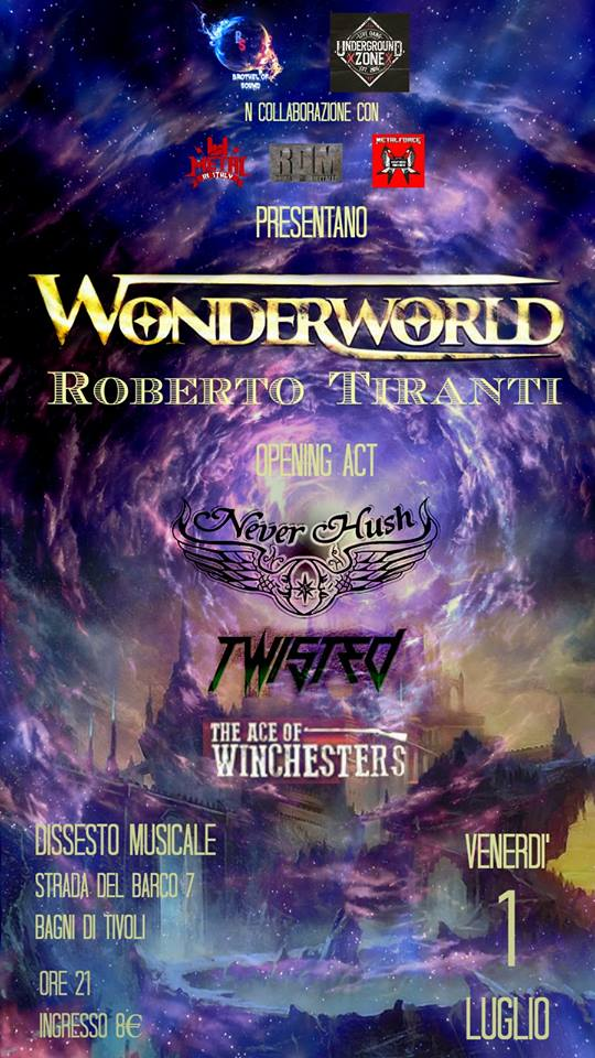 Wonderworld (Roberto Tiranti) + Neverhush + Twisted + The Ace of Winchesters @ Dissesto Musicale - 01 07 2016