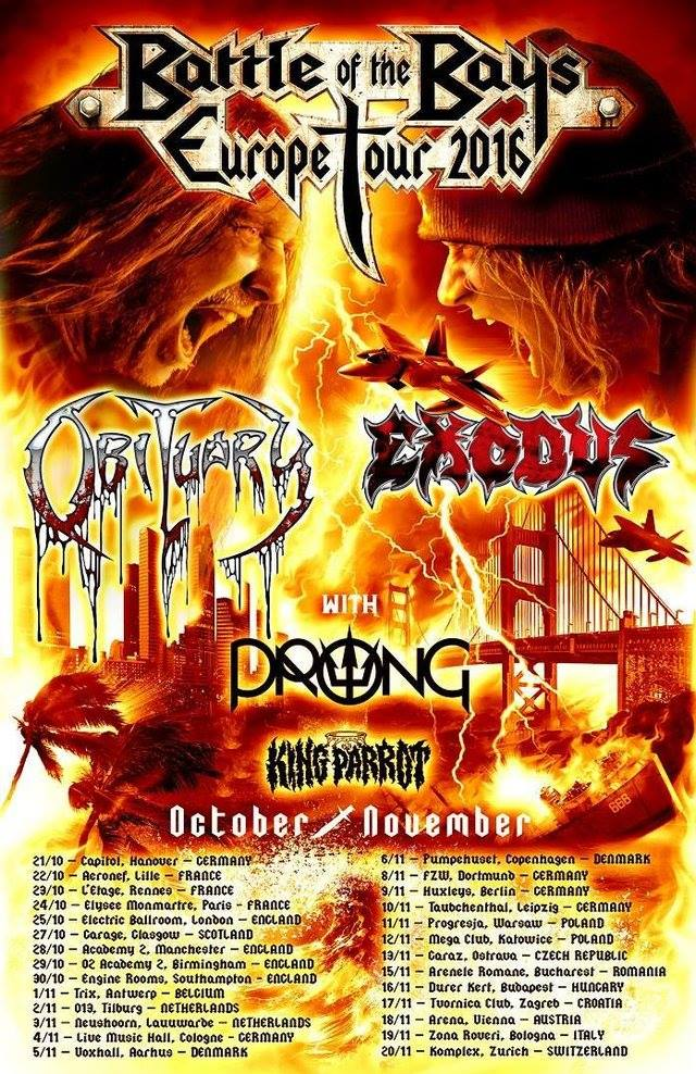 Obituary - Exodus - Prong - King Parrot - Zona Roveri - Battle Of The Bays Europe Tour 2016 - Promo