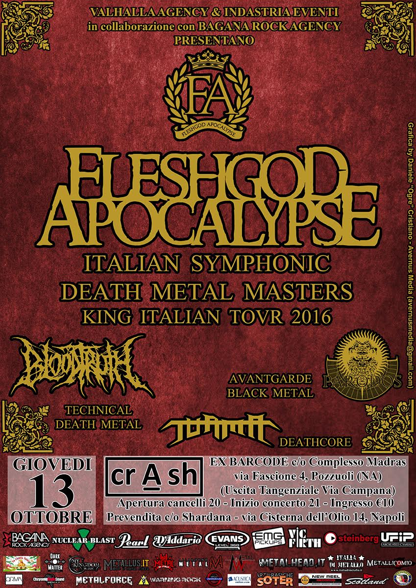 Fleshgod Apcalypse - Bloodtruth - Pàrados - Turma - Crash - King Italian Tour 2016 - Promo