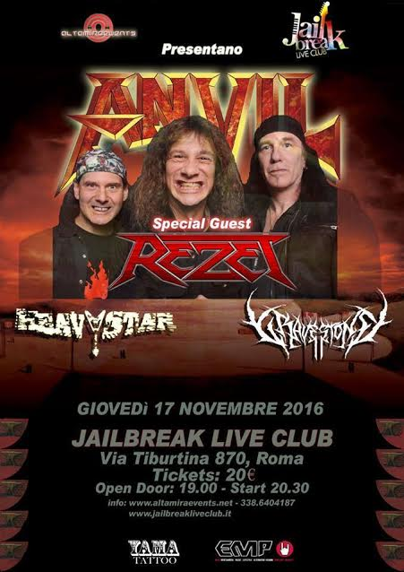 Anvil - Rezet - Heavy Star - Gravestone - Jailbreak - Live - Club 2016 - Promo