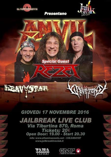 Anvil - Rezet - Heavy Star - Gravestone - Jailbreak - Live - Club 2016 - Promo
