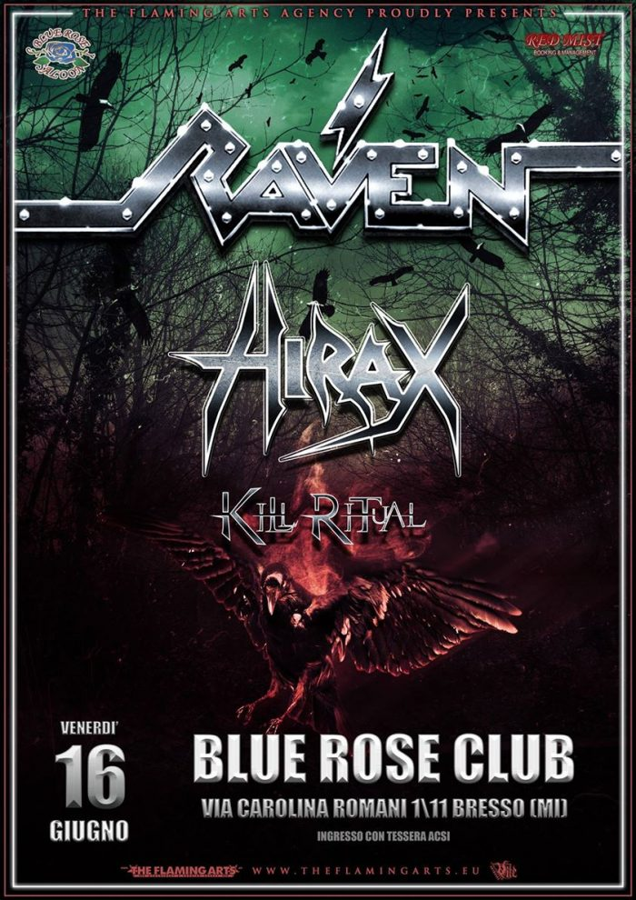 Raven - Hirax - Kill Ritual - Blue Rose Club - Tour 2017 - Promo