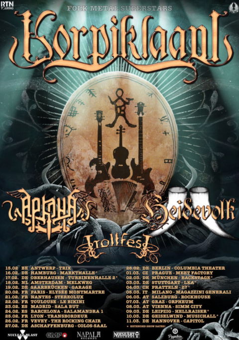 Korpiklaani - Heidevolk - Trollfest - Folk Metal Superstars - Tour Europeo 2018 - Promo
