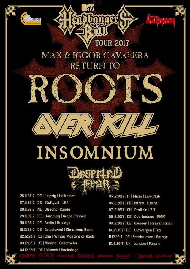 Overkill - Max - Igor Cavalera - Insomnium - Deserted Fear - MTV Headbangers Ball - Tour 2017 - Promo