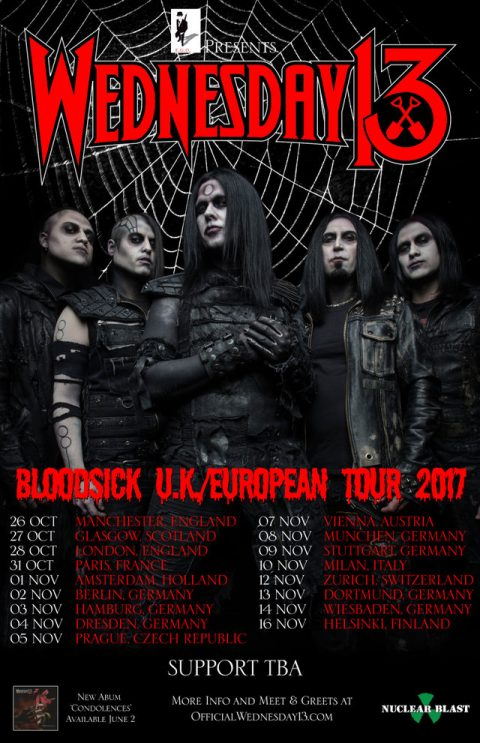 Wednesday 13 - Bloodsick UK European Tour 2017 - Promo