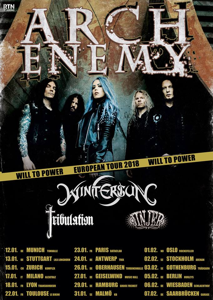 Arch Enemy - Wintersun - Jinjer - Will To Power - European Tour 2018 - Promo