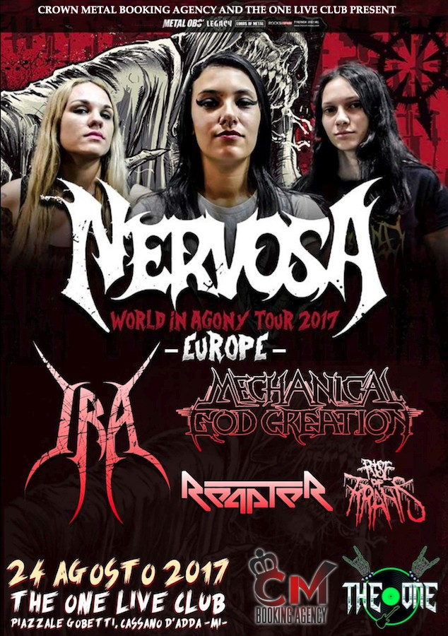 Nervosa - The One Live Club - World In Agony Europe Tour 2017 - Promo