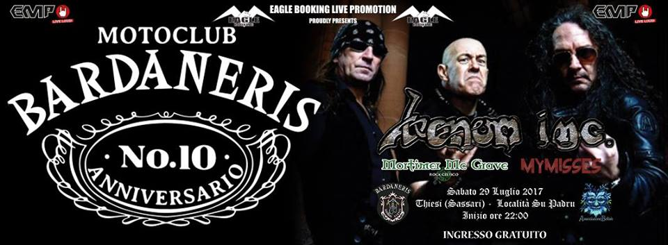 Venom Inc. in Sardegna + My Misses + Mortimer McGrave + Motoclub Bardaneris - Tour 2017 - Promo