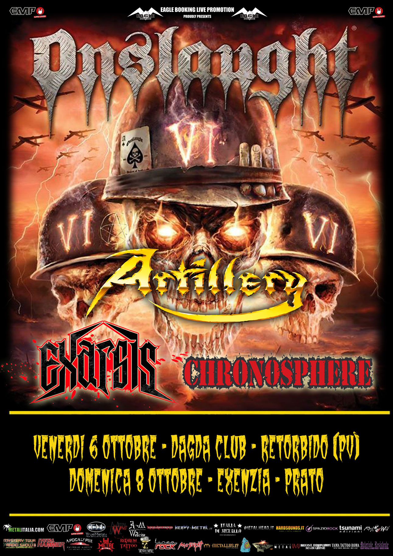 Onslaught - Artillery - Exarsis - Chrosphere - Tour 2017 - promo
