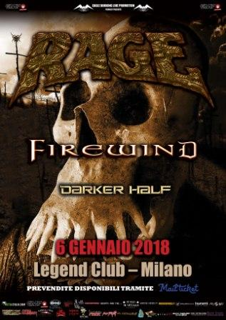 Rage - Firewind - Darker Half - Legend Club - Tour 2018 - Promo