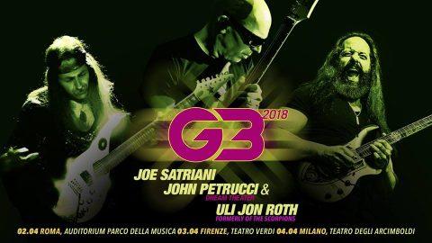 G3 a Firenze: Joe Satriani - John Petrucci - Uli Jon Roth - Tour 2018 - Promo