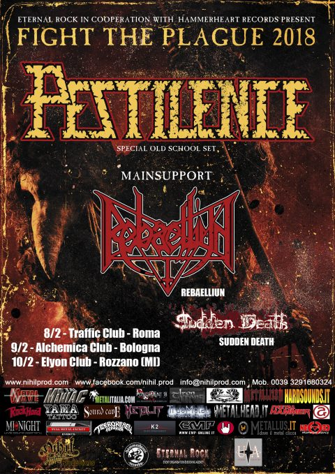 Pestilence - Rebaelliun - Sudden Death - Fight The Plague - Italian Tour 2018 - Promo