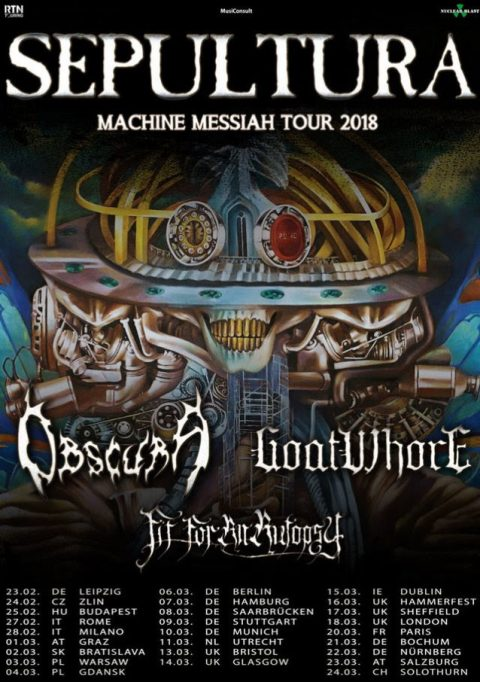 Sepultura - Obscura - Goatwhore - Fit For An Autopsy_Machine Messiah Tour 2018 - Promo