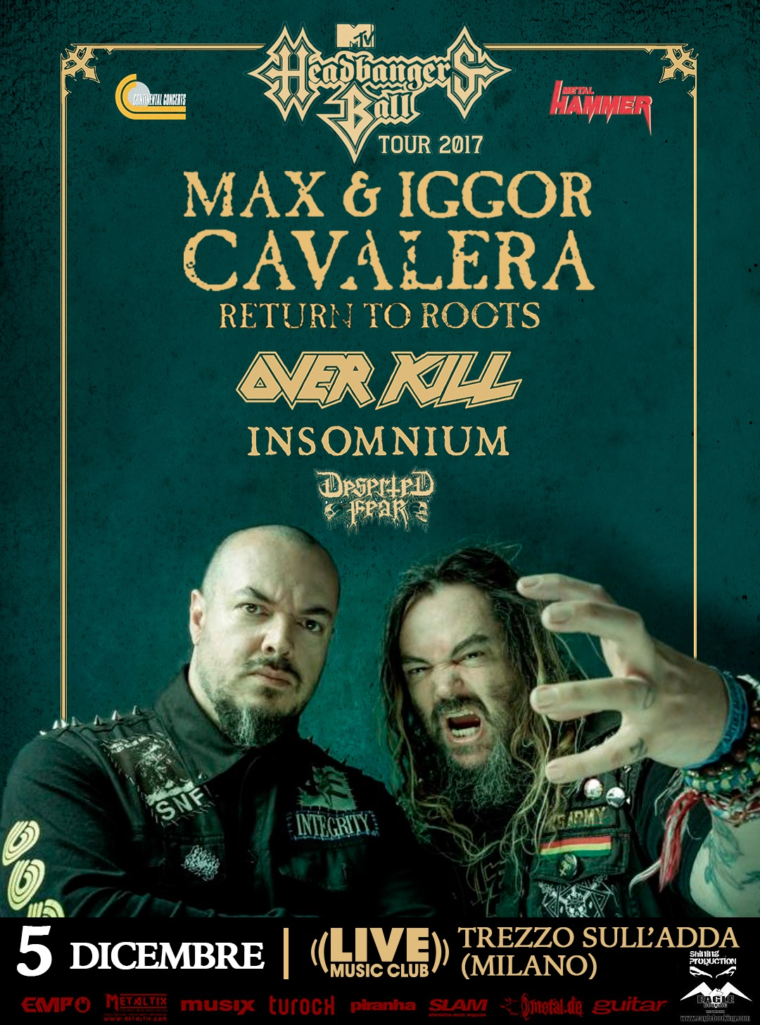 Max & Igor Cavalera - Overkill - Insomnium - Deserted Fear - Live Music Club - Return To Roots 2018 - Promo