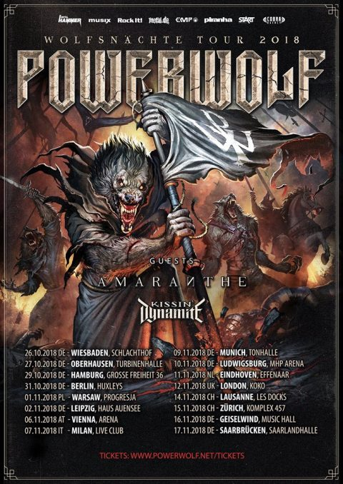 Powerwolf - Amaranthe - Kissin Dynamite - Live Music Club - Wolfsnachte Tour 2018 - Promo