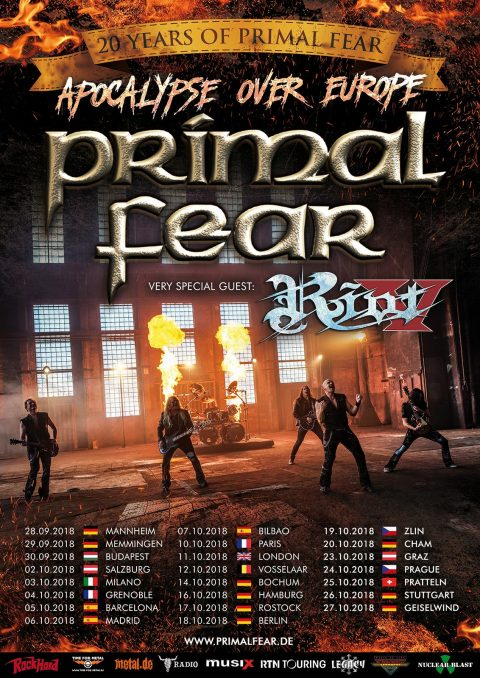 Primal Fear - Riot V - Apocalypse Over Europe - Tour 2018 - Promo