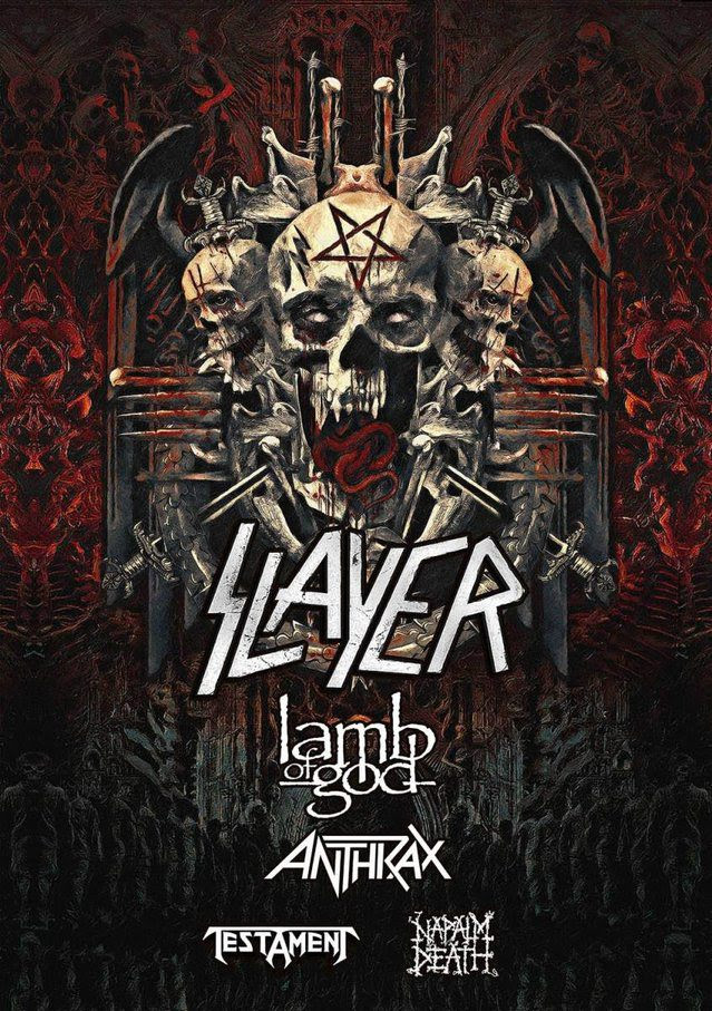 Slayer - Lamb Of God - Anthrax - Testament - Napalm Death - Tour 2018 - Promo