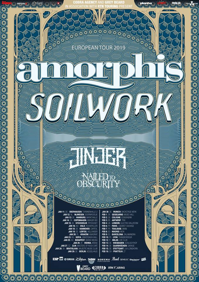 Amorphis - Soilwork - Jinjer - Nailed To Obscurity - Live Music Club - European Tour 2019 - Promo