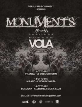Monuments + guests - 3 date a Ottobre 2018