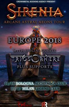 Sirenia e Triosphere - 2 date in Italia novembre 2018