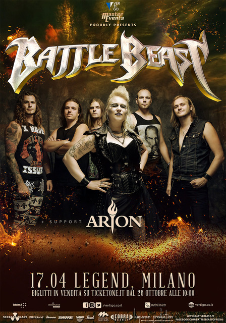 Battle Beast - Arion - Legend Club - Tour 2019 - Promo