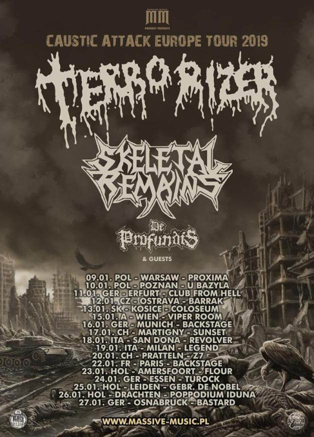 Terrorizer - Skeletal Remains - De Profundis - Caustick Attack Europe Tour 2019 - Promo