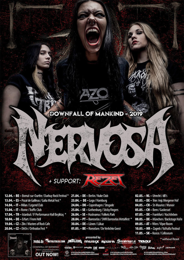 Nervosa - Rezet - Downfall Of Mankind - Tour 2019 - Promo