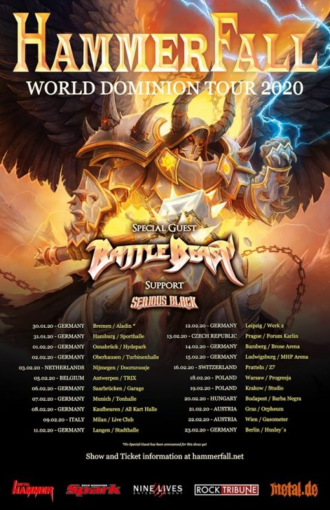 Hammerfall - Battle - Beast - Serious Black - World Dominion Tour 2020 - Promo
