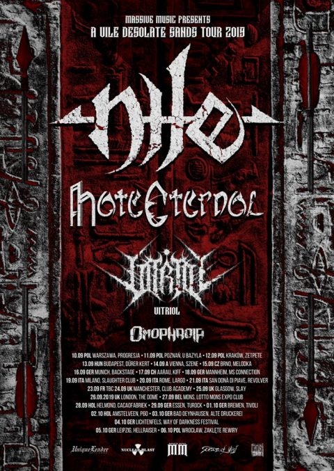 Nile - Hate Eternal - Vitriol - Omophagia - A Vile Desolate Sands - Tour 2019 - Promo