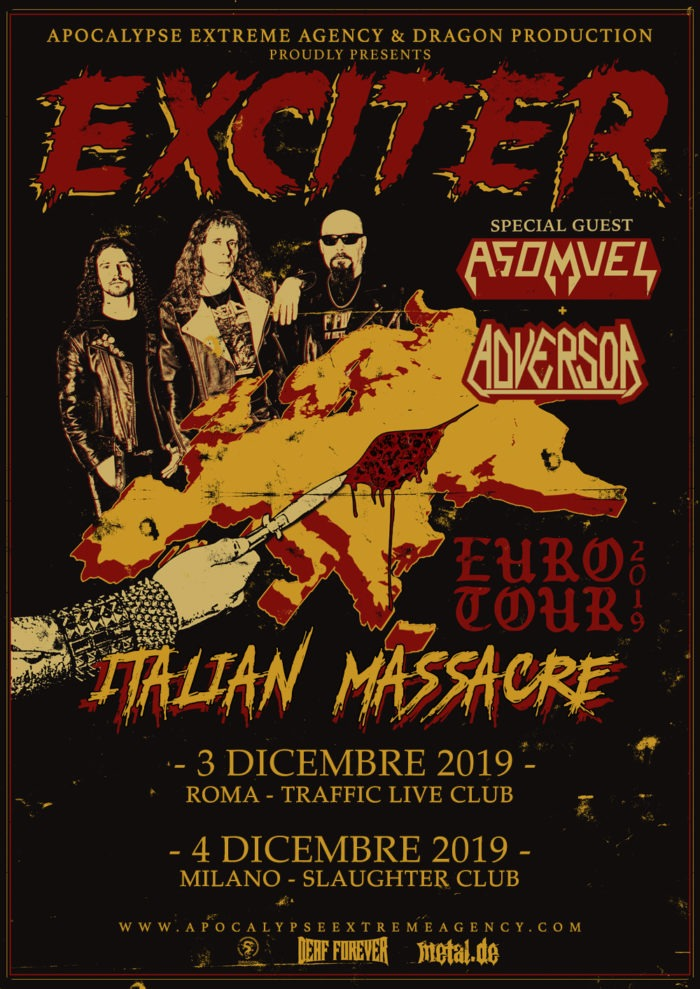 Exciter - Asomvel - Adversor - Italian Massacre Euro Tour 2019 - Promo
