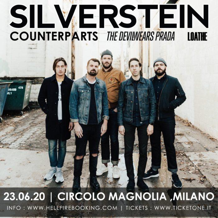Silverstein - Counterparts - The Devil Wears Prada - Milano - Circolo Magnolia - Tour 2020 - Promo