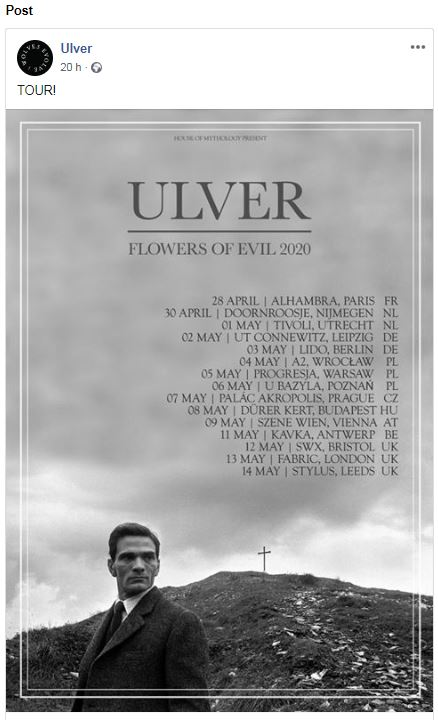 Ulver - Flowers Of Evil Tour 2020 - Promo