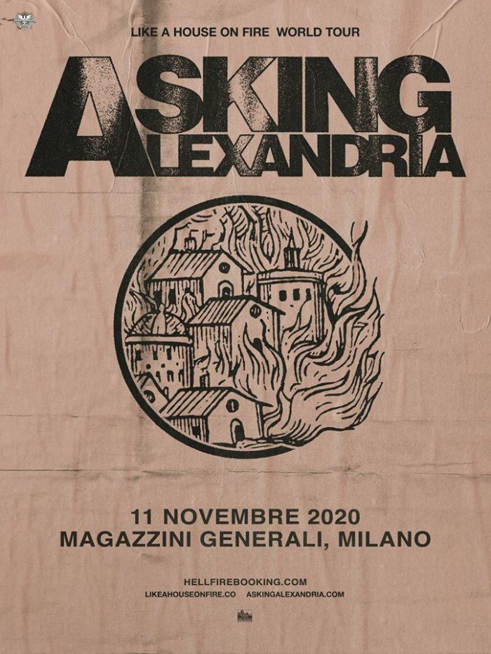 Asking Alexandria - Magazzini Generali - Milano - Like A House On Fire - World Tour 2020 - Promo
