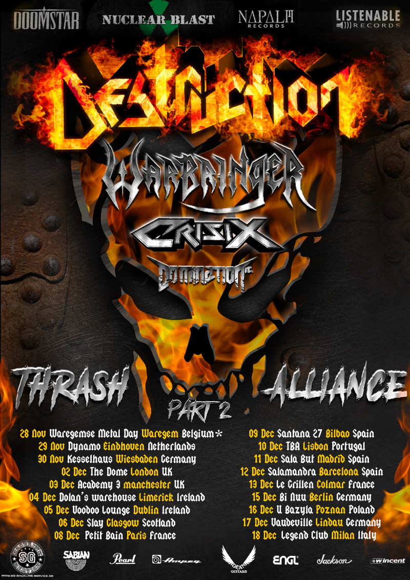 Destruction - Warbringer - Crisix - Domination Inc. - EU Tour 2020 - Promo