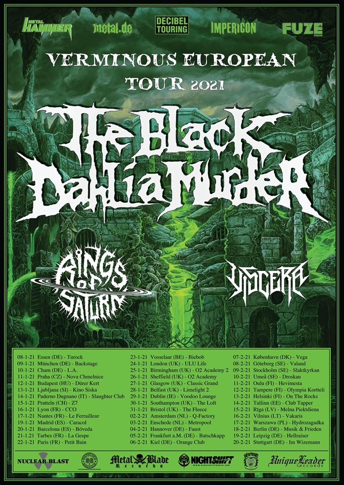 The Black Dahlia Murder - Rings Of Saturn - Viscera - Verminous European Tour 2021 - Promo
