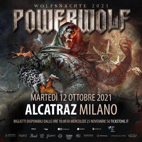 Powerwolf - Alcatraz - Milano - Wolfsnächte European Tour 2021 - Promo